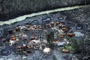 A picture taken on March 22, 2013 shows an illegal oil refinery destroyed by Joint Task Force at Nembe Creek in the Niger Delta on March 22, 2013. Shell Petroleum Development Company of Nigeria (SPDC) on April 2, 2013 said it would temporarily shut down production the Nembe Creek Truck Line (NCTL) to remove a number of bunkering points on pipelines vandalised by oil thieves in the region. AFP PHOTO / PIUS UTOMI EKPEIPIUS UTOMI EKPEI/AFP/Getty Images